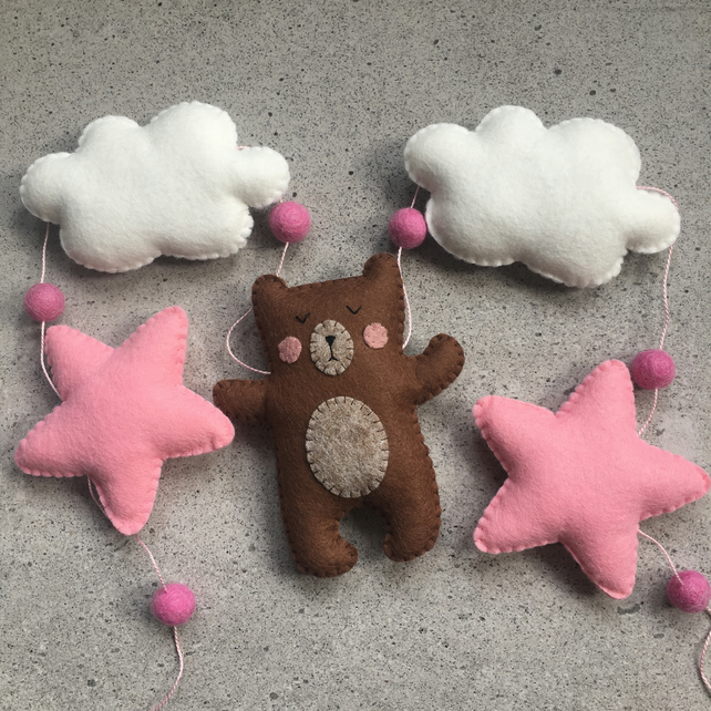 Handmade felt bear, star and cloud garland. Nursery - playroom