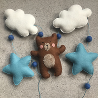 Handmade felt bear, cloud and star garland. Nursery - playroom