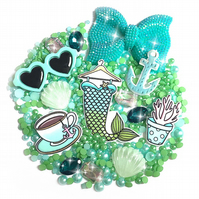 Decoden Kit - Mermaid Tale - Green & Blue Cabochons & Flatback Pearls