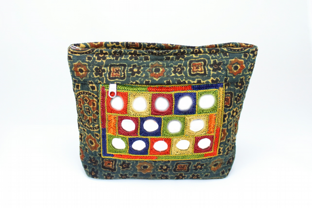 Hand Emrbroidered Block Printed Pouch Bag