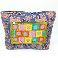 Hand Embroidered Block Printed Pouch Bag