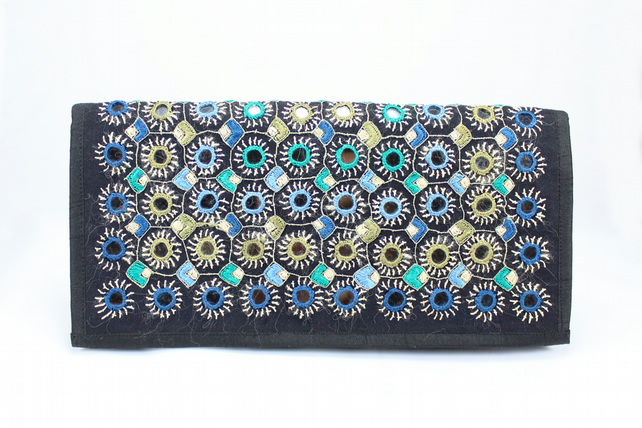 Black Handembroidered Mirror Embellished Soft Clutch