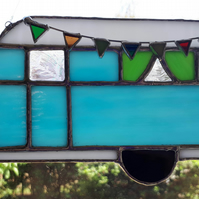 Stained glass suncatcher - blue vintage caravan with bunting