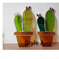 Stained glass cactus suncatcher Style A