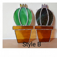 Stained glass cactus suncatcher Style B