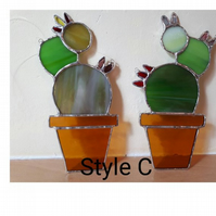 Stained glass cactus suncatcher Style C