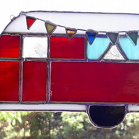Stained glass suncatcher - red vintage caravan with bunting