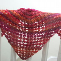 Crochet lace scarf in reds and oranges