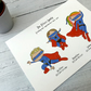 Superhero illustrated family prints A4 unmounted