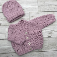 Baby cardigan premature to newborn size
