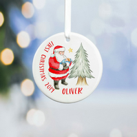 Personalised Ceramic Christmas Tree Decoration- Santa Range. Baby 1st Christmas
