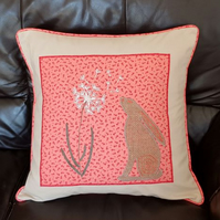 Orange Hare and Dandelion embroidered Cushion