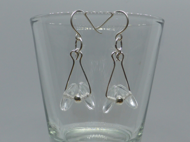 Clear Czech Glass Sterling Silver drop earrings