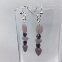 Pink Czech Glass 'arrow' drop earrings