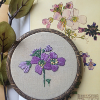Charles Rennie Mackintosh Inspired Floral Botanical Embroidery Hoop