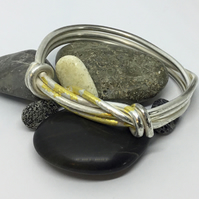 Classic Rope Knot Recycled Silver Bangle with Gold Leaf Keum Boo Detail