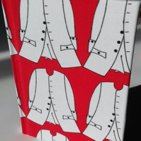 A6 Notebook covered with fabric from original design - A New Coat for Mr Scarlet