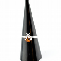 Amber Ring, Ladybird Ring, Sterling silver ring, Amber jewellery,