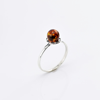 Amber Ring, Amber stone Ring, Orange Amber Ring, Natural Amber Ring,