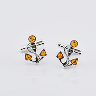 Amber cuff links, Sterling silver cuff links, Gemstone cuff links