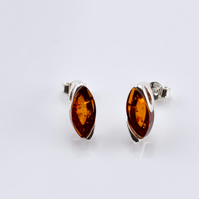 Amber Earrings, Gemstone Earrings, Stud Earrings, Screw back Earrings,