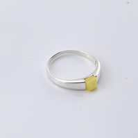 Amber Ring, Amber stone Ring, Yellow Amber Ring, Natural Amber Ring,