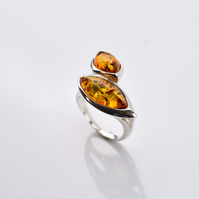 Amber Ring, Amber stone Ring, Orange Amber Ring, Natural Amber Ring