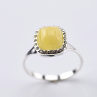 Amber Ring, Amber stone Ring, Yellow Amber Ring, Natural Amber Ring