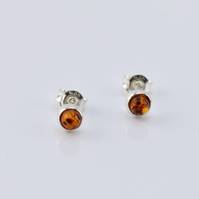 Amber Earrings, Gemstone Earrings, Stud Earrings, Screw back Earrings