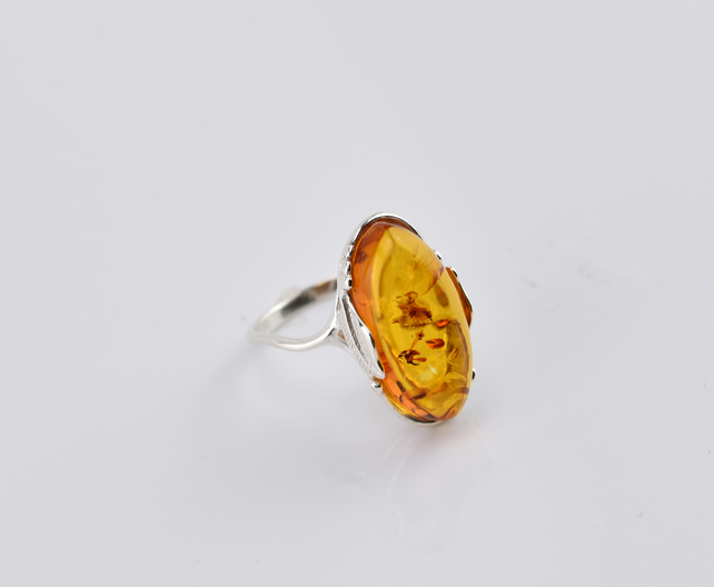Amber Ring, Oval Ring, Yellow Amber Ring, Natural Amber Ring