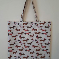 Christmas Dachshund Dog Breed Reusable Shopping Tote Bag