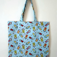 Reusable Fabric Beach Hut Tote Shopping Bag Blue Washable