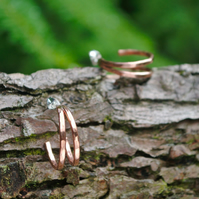 Copper hammered joined hoop earrings