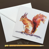 Red Squirrel Blank Greeting Card