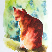 Ginger Cat Watercolour Art Print