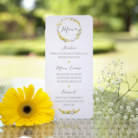 Pack of 6x 'Yellow Floral Watercolour' Rustic Whimsical Wedding Menu Cards
