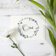 1x 'Blue Floral Watercolour' Rustic Bespoke Table Nnumber Name Cards