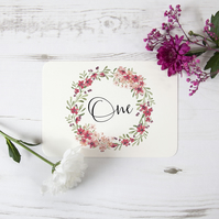 1x 'Light Berry' Watercolour Rustic Bespoke Table Number Name Cards