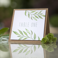 1x 'Natural Green Leaf' Watercolour Folded Wedding Table Number Name Cards