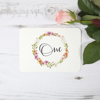 1x 'Multi Floral Watercolour' Bespoke Wedding Table Number Name Cards