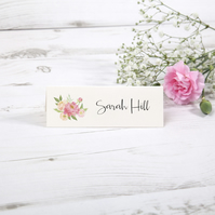 Pack of 20x 'Pretty Pink Peach' Floral Vintage Table Place Cards