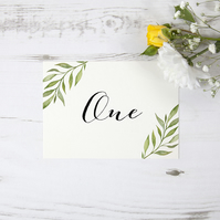 1x 'Green Leaf Watercolour' Wedding Table Number Name Card