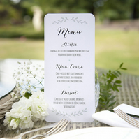 Pack of 6x Green Plant Bespoke Rustic Wedding Menu Cards