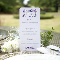 Pack of 6x Midnight Iris Stunning Watercolour Floral Wedding Menu Cards