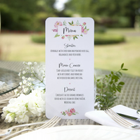 Pack of 6x Pink Peonies Floral Watercolour Bespoke Wedding Menu Cards