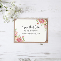 Pack of 10x 'Peony' Pink Peach Floral Watercolour Bespoke Save The Date Cards