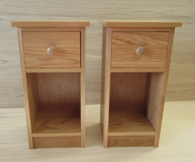 official photos 5be6f 1efff Pair Oak bedside cabinets Solid Oak Wood Narrow Slim fit