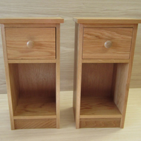 Pair Oak bedside cabinets  Solid Oak Wood Narrow Slim fit