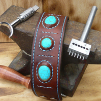 Hand sewn leather cuff, with turquoise stones