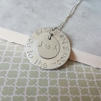 Personalised I love you to the moon and back washer necklace